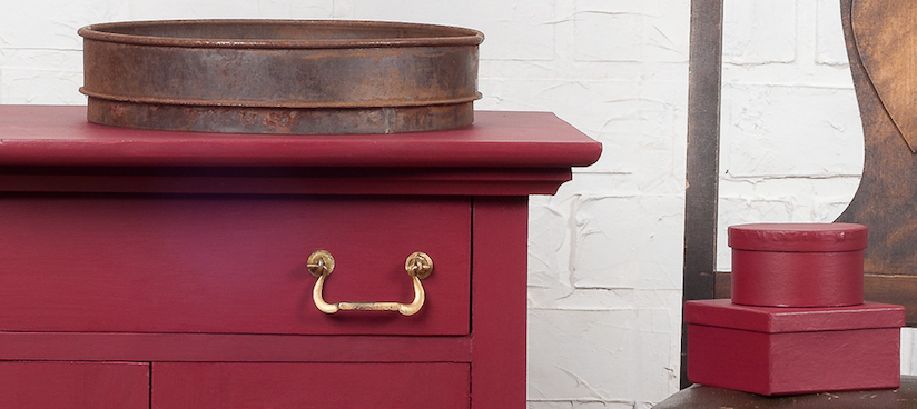 Cranberry deep red colour fusion paint hand painted drawer unit