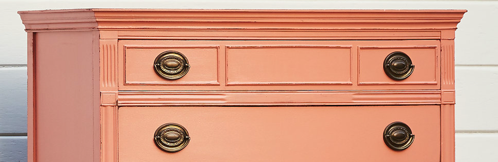 Hand painted chest of drawers painted in Fusion Mineral Paint Coral colour