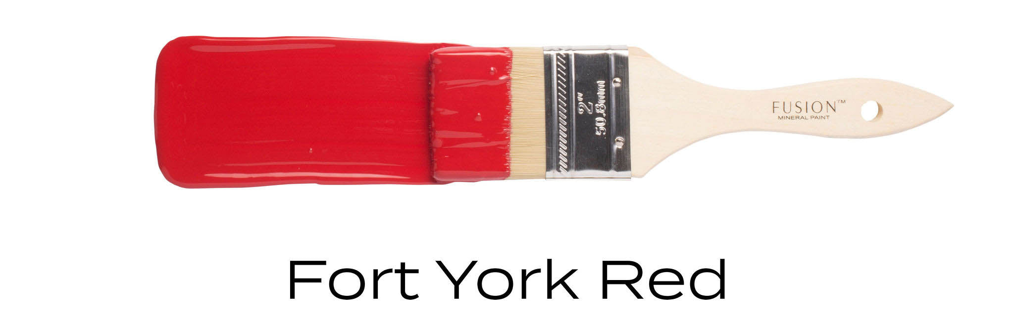 Fort York Red fusion mineral paint example on paint brush stroke