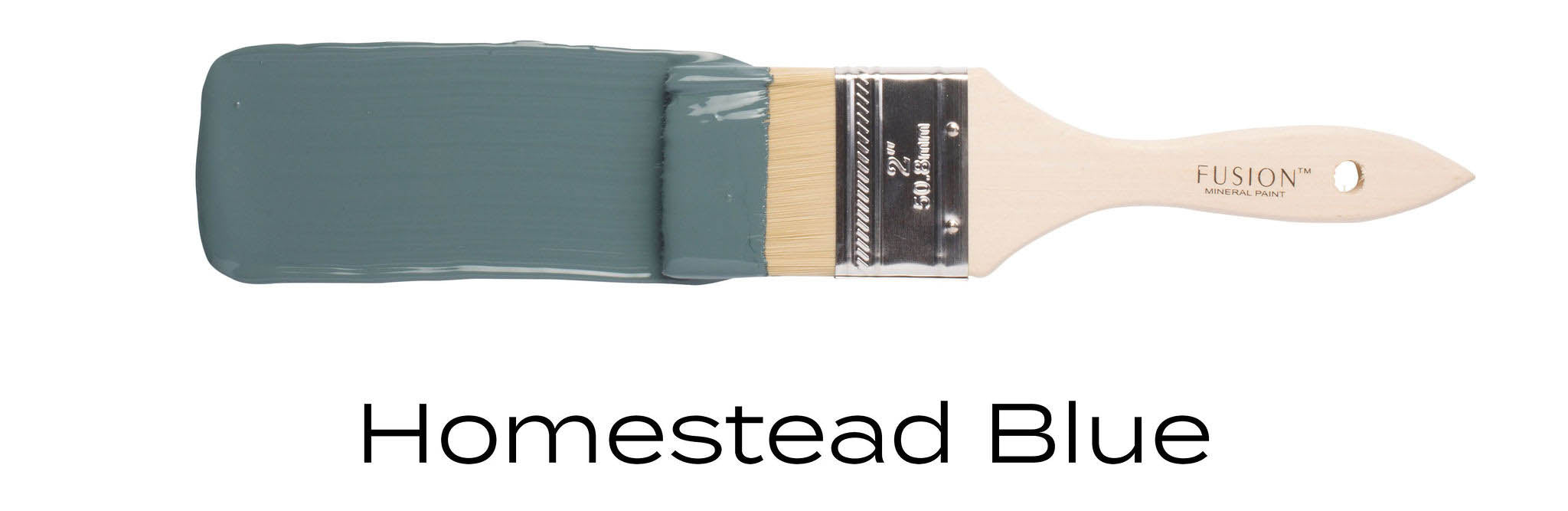 homestead blue fusion mineral paint example on paint brush