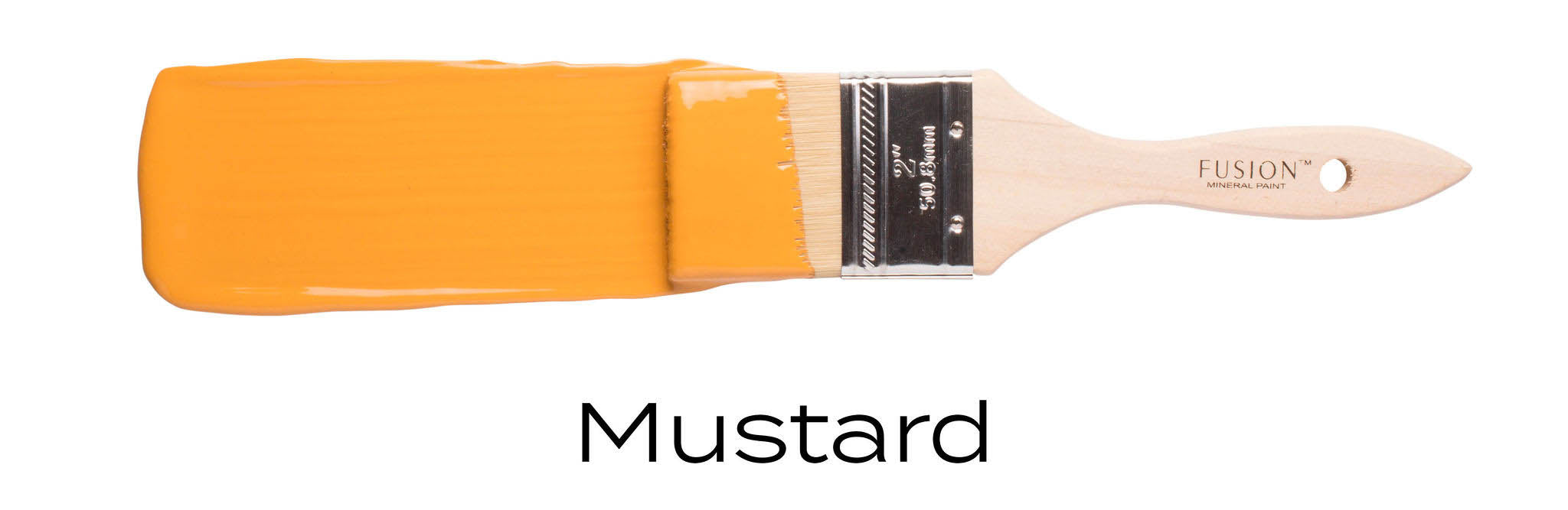 Mustard, Fusion Mineral Paint furniture paint colour example on paint brush stroke