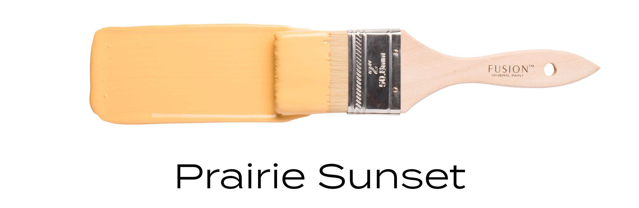 Prairie sunset yellow furniture paint on a brush by fusion mineral paint England uk stockist