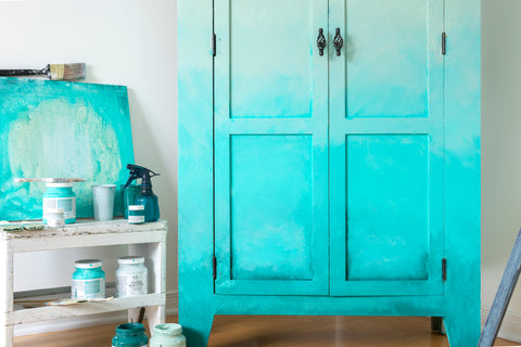 azure fusion mineral paint light blue cabinet makeover with faded effect