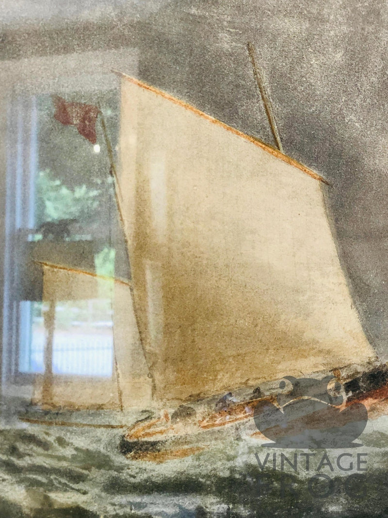 20th Century Mixed Media Painting of Boats on Choppy SeasVintage FrogVintage Item