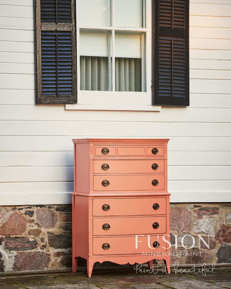 hand painted tall chest of drawers painted in Coral colour by fusion mineral paint