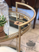 Antique Style Vintage Gold Metal Drinks Trolley with Mirrored Shelves