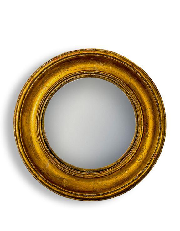 Antique Effect Gold Deep Round Framed Convex MirrorVintage FrogMirror