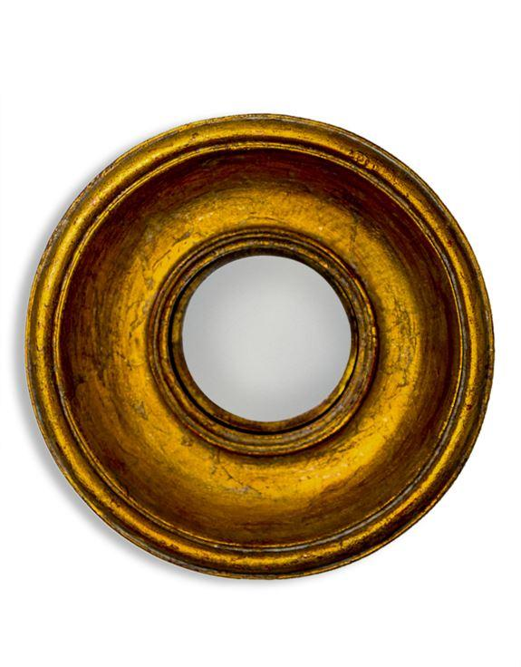 Antique Effect Gold Deep Round Framed Extra Small Convex MirrorVintage FrogMirror
