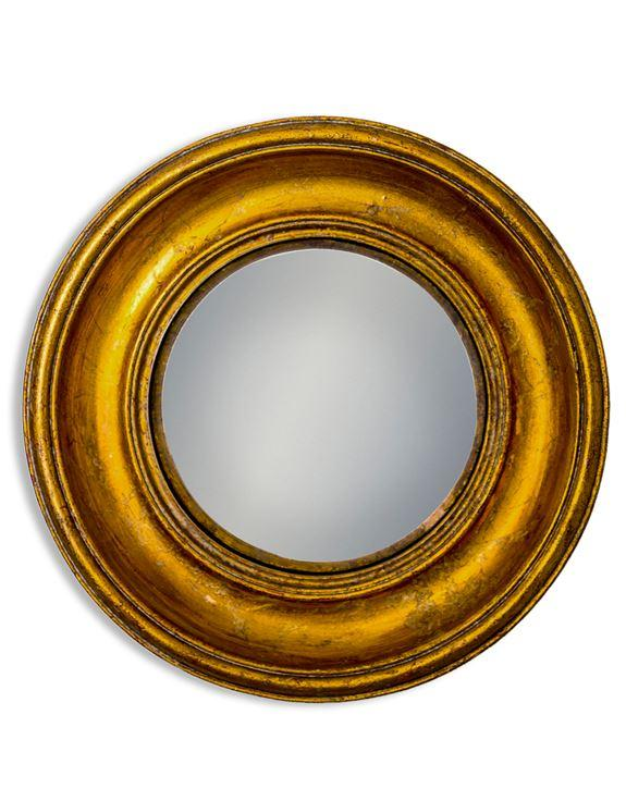 Antique Effect Gold Deep Round Framed Medium Convex MirrorVintage FrogMirror
