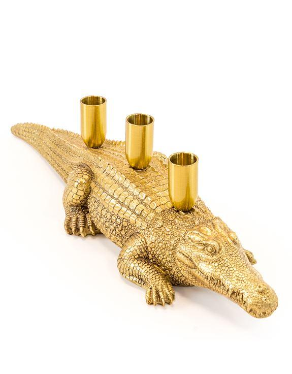 Antique Gold Crocodile Candle HolderVintage FrogCandle Holder