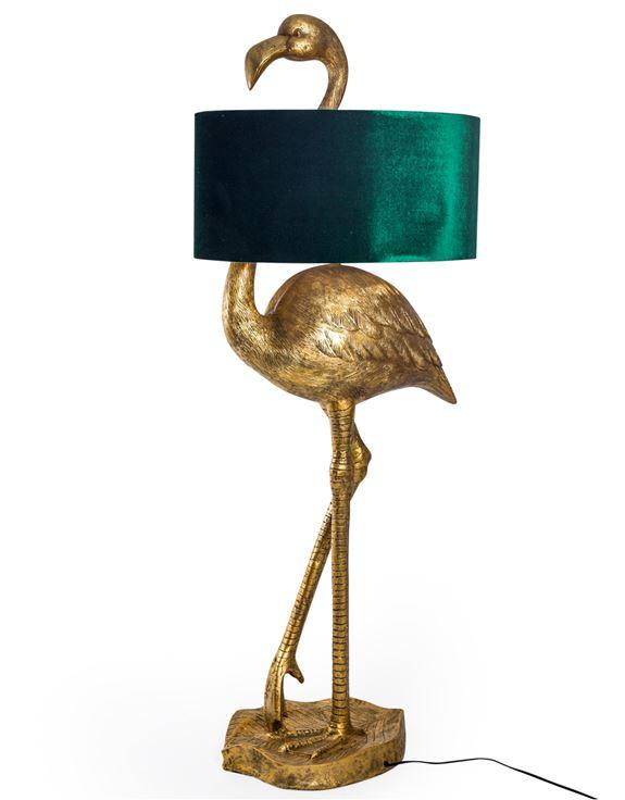Antique Gold Effect Flamingo Floor Lamp with Green Velvet ShadeVintage FrogLighting