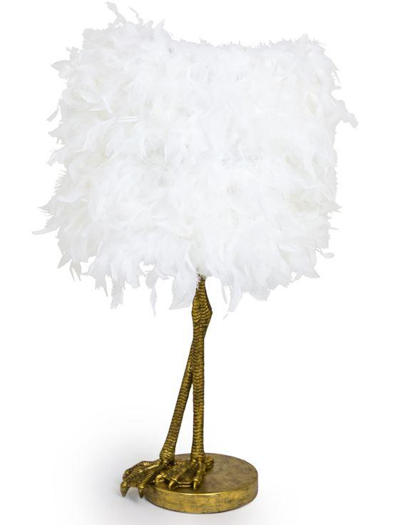 Antique Gold Effect Large Bird Leg Table Lamp with White Feather ShadeVintage FrogLighting