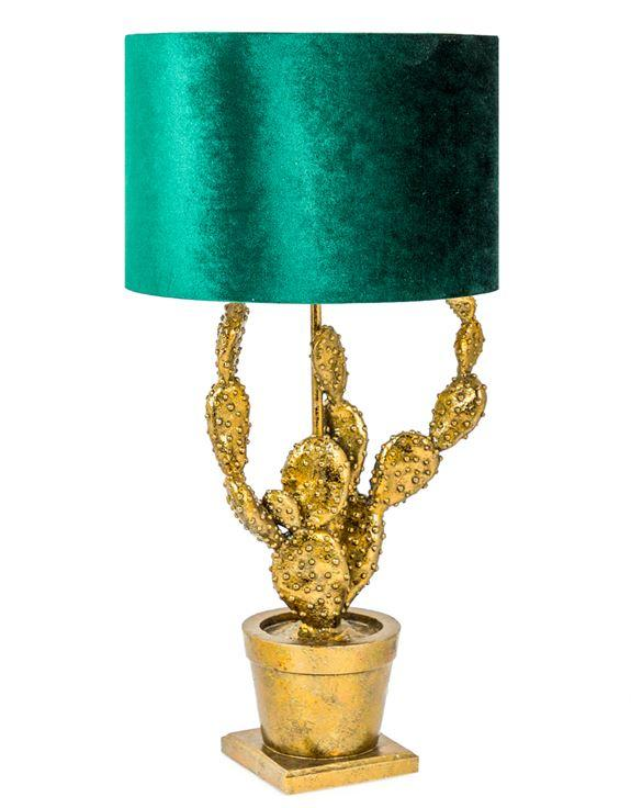 Antique Gold Effect Potted Cactus Lamp with Green Velvet ShadeVintage FrogLighting