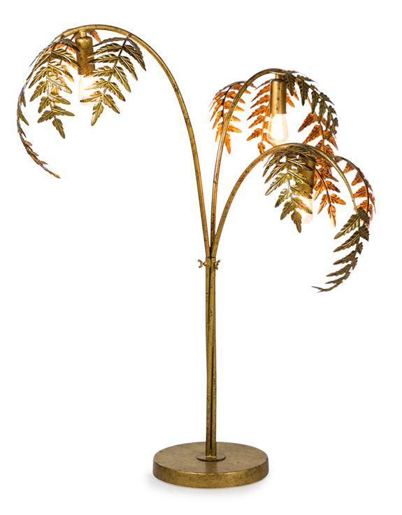 Antique Gold Palm Leaf Table LampVintage FrogLighting