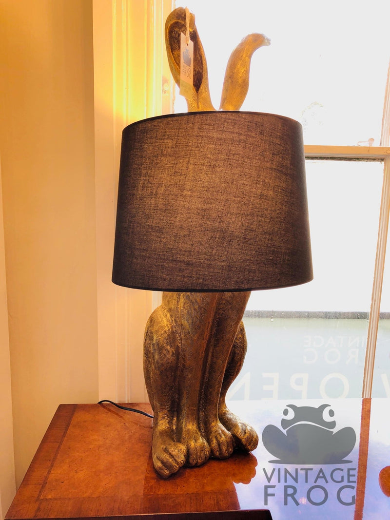 Antique Gold Rabbit Ears Lamp with Black ShadeVintage FrogLighting