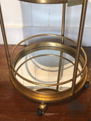 Antique Style Gold Leaf Metal Small Round Bar Drinks Trolley with Mirror ShelvesVintage FrogDrinks Trolley