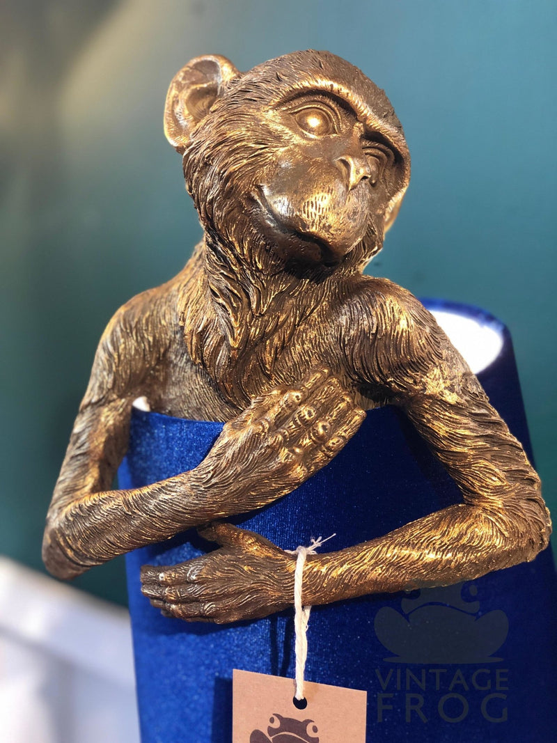 Antique Style Gold Monkey Lamp Clutching Blue Velvet Shade.Vintage FrogLighting