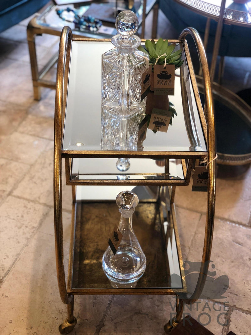Antique Style Round Gold Leaf Metal Bar Drinks Trolley with Mirror ShelvesVintage FrogDrinks Trolley