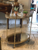 Antique Style Vintage Gold Metal Drinks Trolley with Mirrored ShelvesVintage FrogDrinks Trolley