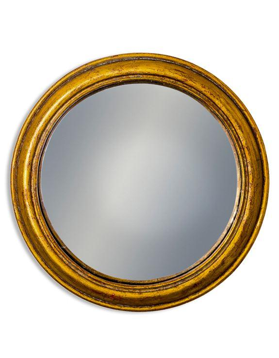 Antiqued Gold Rounded Framed Convex MirrorVintage FrogMirror