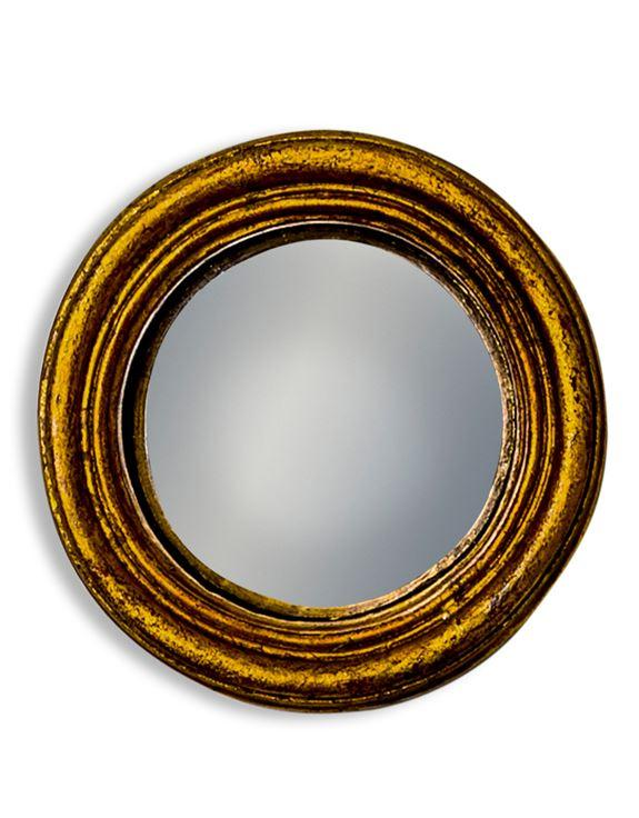 Antiqued Gold Thin Framed Extra Small Convex MirrorVintage FrogMirror