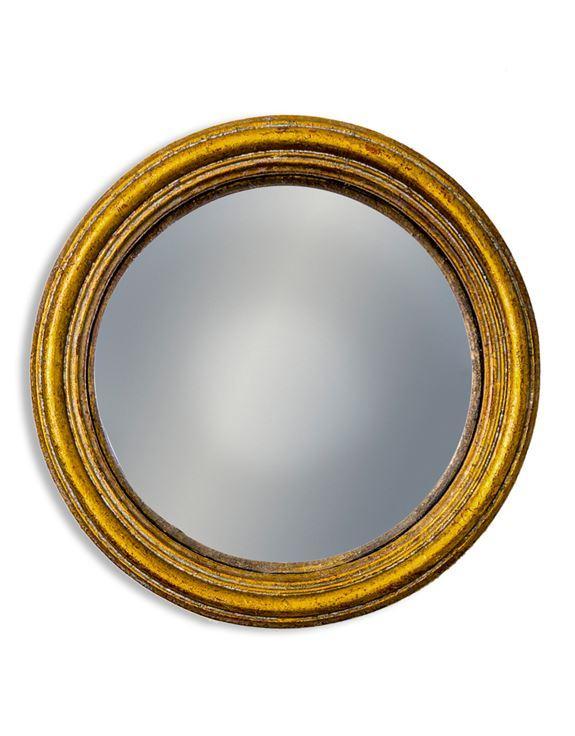 Antiqued Gold Thin Framed Small Convex MirrorVintage FrogMirror