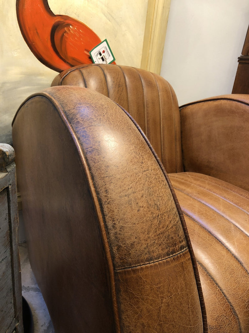 Art Deco Style Leather ArmchairVintage FrogBrand New