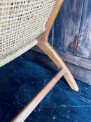 Cane Backed Low Solid Wood Framed Nursing Lounge Occasional ChairVintage Frog W/BVintage Item