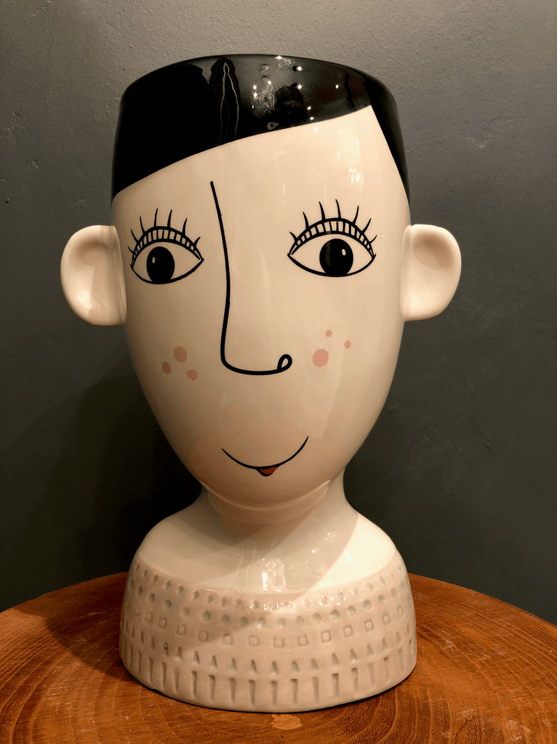 Ceramic Doodle Face Vase, Woman With Freckles Flower PotVintage Frog