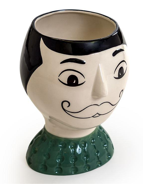 Ceramic Doodle Man Figure Vase with MoustacheVintage Frog