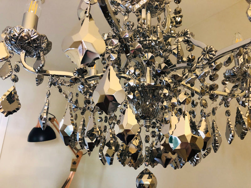 Chrome plated Glass 6 Branch ChandelierVintage FrogChandelier