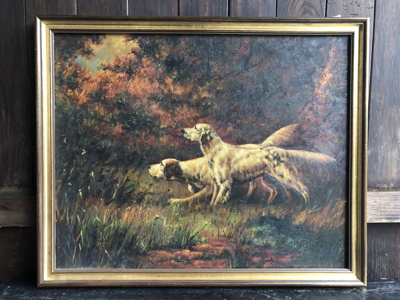 Contemporary Oil on Canvas Of English Setter DogsVintage FrogVintage Item