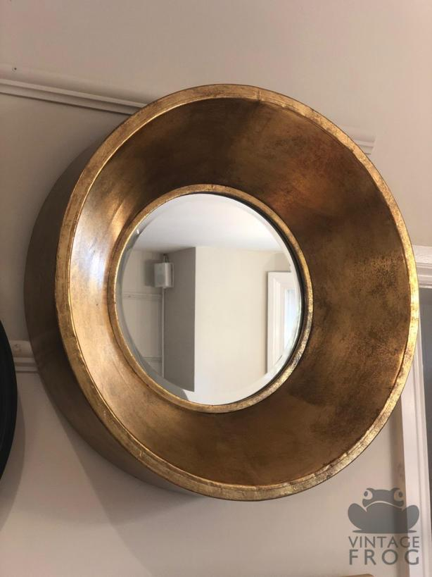 Deep Framed Gold Metal Round Bevelled MirrorVintage FrogMirror