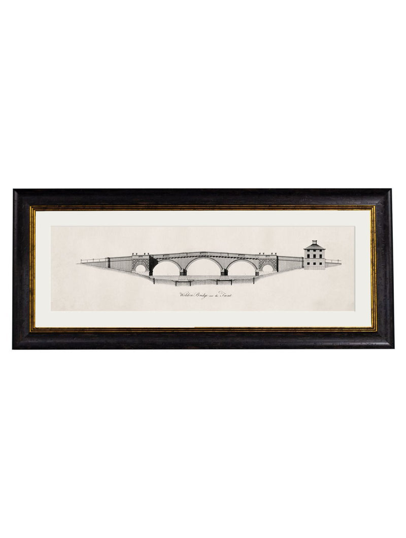 Framed Architectural Elevations of Bridges Prints - Referenced From A 1700s Architectural Elevation EngravingVintage FrogPictures & Prints