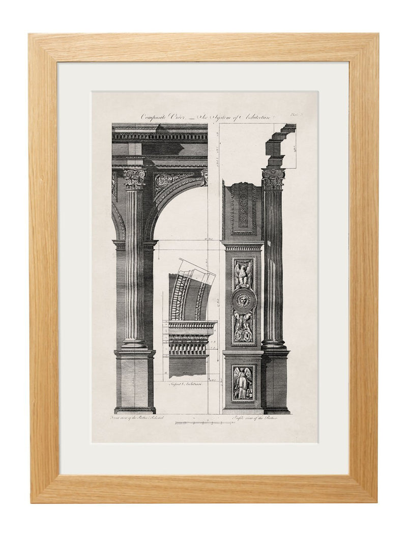 Framed Architectural Studies of Arches Prints - Referenced From A Detailed Late 1700s PrintVintage FrogPictures & Prints