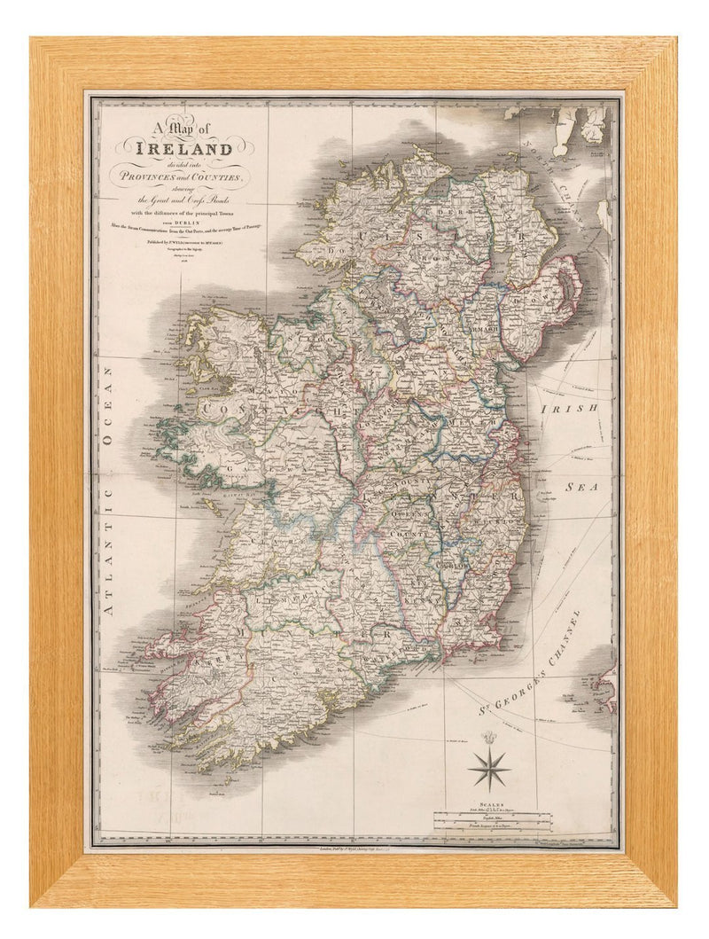 Framed Map Of Ireland Print - Referenced From An Original 1800s MapVintage FrogPictures & Prints