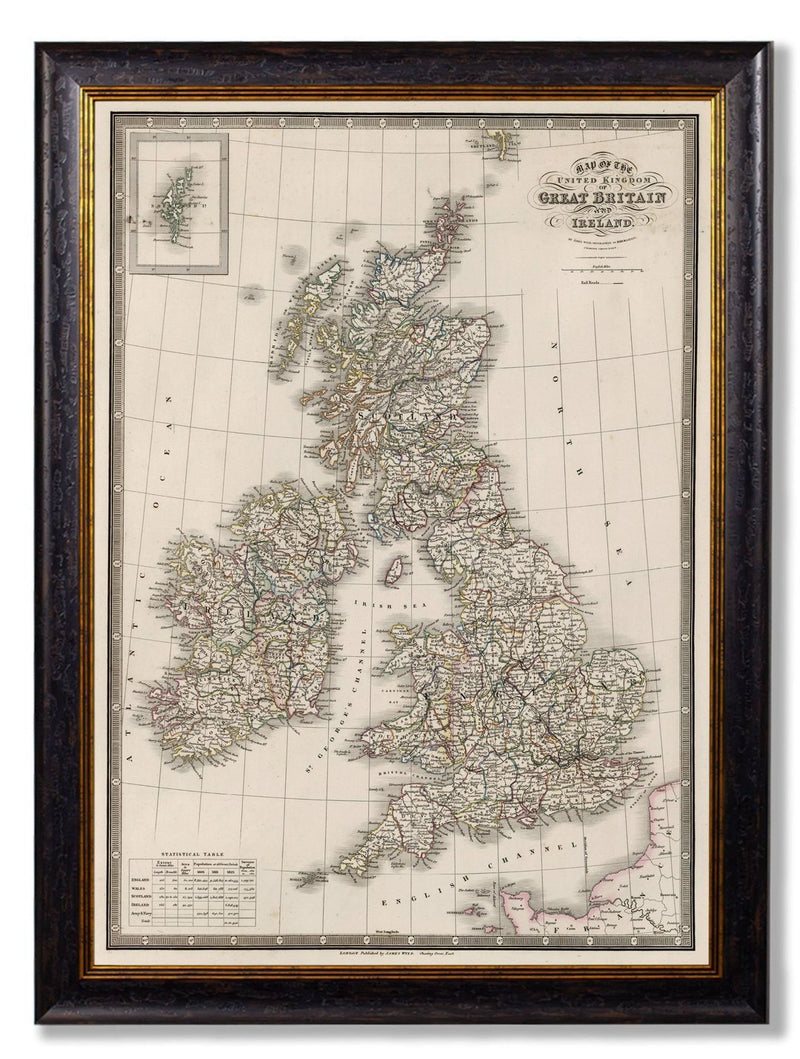 Framed Map Of The British Isles Print - Referenced From An Original 1800s MapVintage FrogPictures & Prints