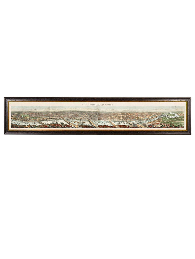 Framed Panoramic View Of London And The River Thames Print - Referenced From An Original Hand Coloured Print From The 1800sVintage FrogPictures & Prints