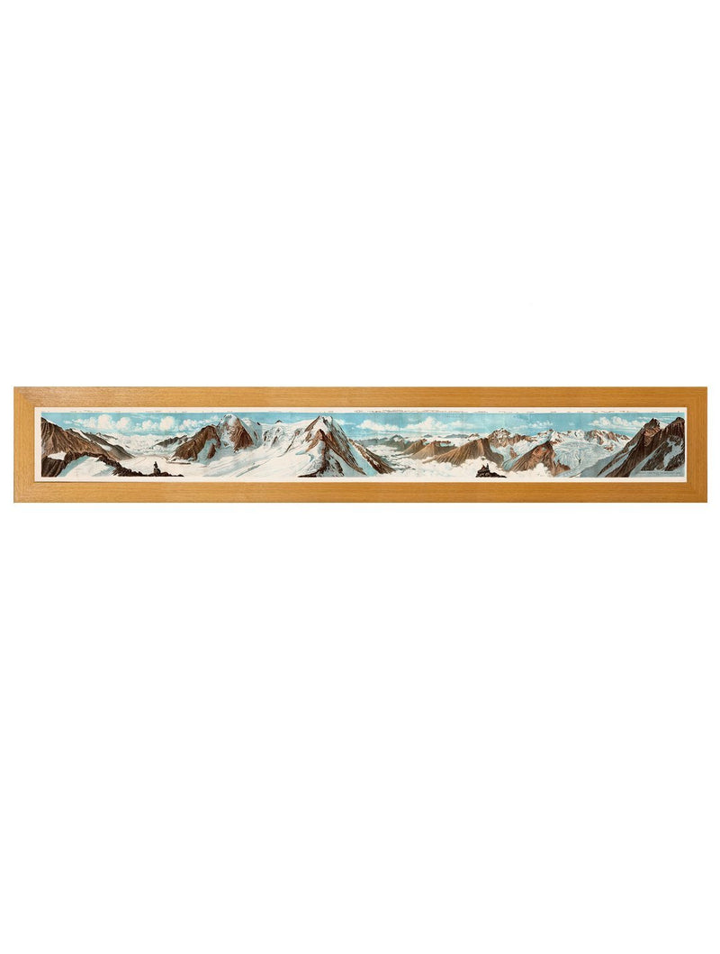 Framed Panoramic View Of The Alps From The Beichgrat Pass Print - Referenced From An Original Hand Coloured Print From The 1800sVintage FrogPictures & Prints