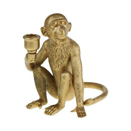 Gold Coloured Monkey Single Candle HolderVintage Frog W/VDecor