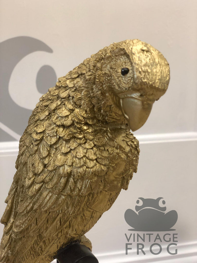 Gold Parrot Figure On Perch OrnamentVintage FrogBrand New