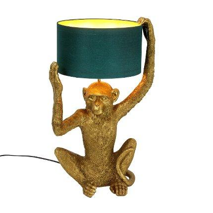 Gold Sitting Chimp Monkey Table Lamp With Petrol Coloured ShadeVintage Frog W/VLighting