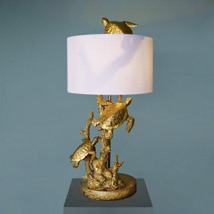 Gold Turtles In The Reef Table Lamp With White ShadeVintage Frog W/VLighting