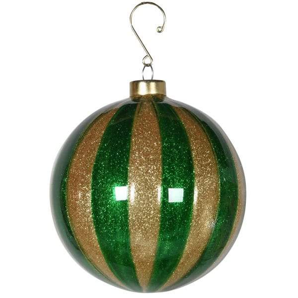 Green and Gold Stripe Christmas Tree Hanging BaubleVintage FrogChristmas Bauble