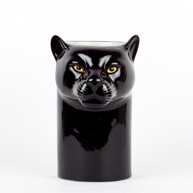 Hand-Painted Ceramic Black Panther Figure Kitchen Utensil Pot VaseQuail CeramicsVase