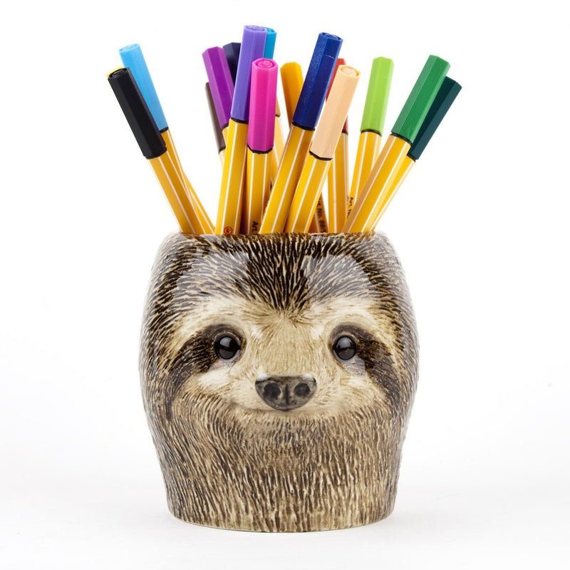 Hand-Painted Ceramic Sloth Figure Pencil Pot VaseQuail CeramicsVase
