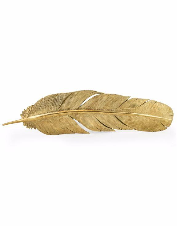 Large Antique Gold Effect Feather Wall Mounted DecorVintage FrogDecor