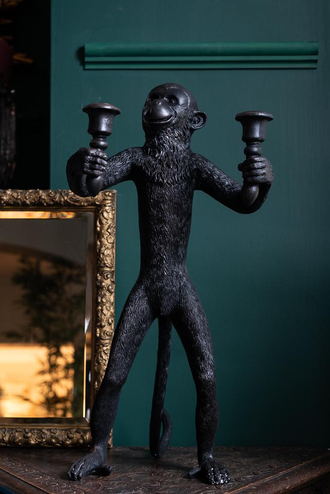 Large Fun Standing Monkey Candle Holder in BlackVintage FrogBrand New