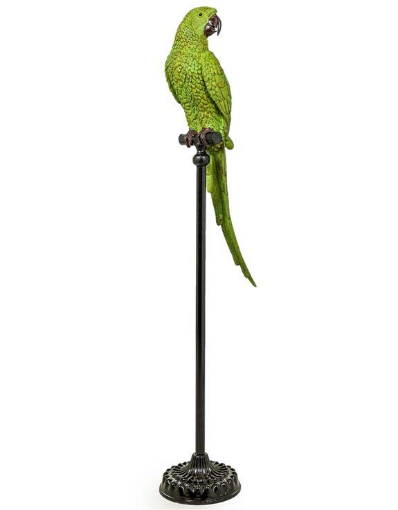 Large Green Parrot on Black Floor Standing PerchVintage FrogDecor