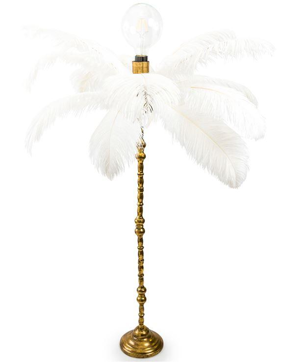 Large Ostrich Feather Table Lamp on Gold BaseVintage FrogLighting